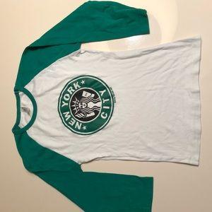 New York City Starbucks logo kids baseball tee